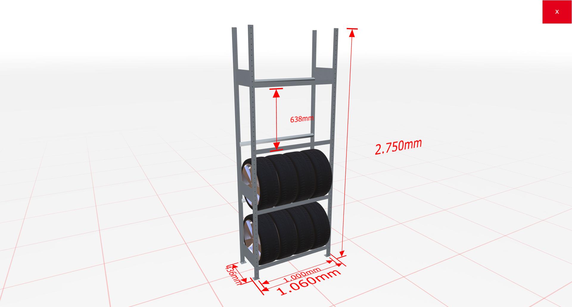 Räderregal Grundregal SCHULTE Lagertechnik 2750x1000x400 mm – 4 Ebenen á 1000 mm, verzinkt