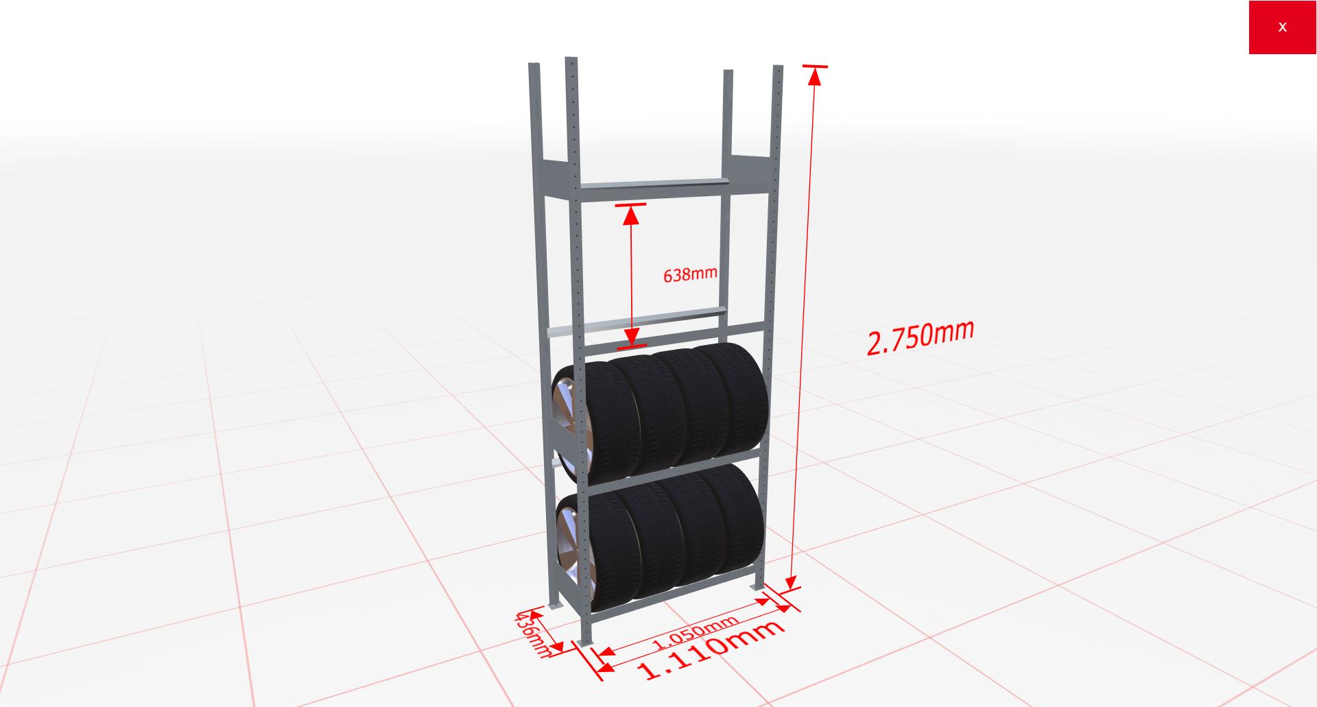 Räderregal Grundregal SCHULTE Lagertechnik 2750x1050x400 mm – 4 Ebenen á 1050 mm, verzinkt