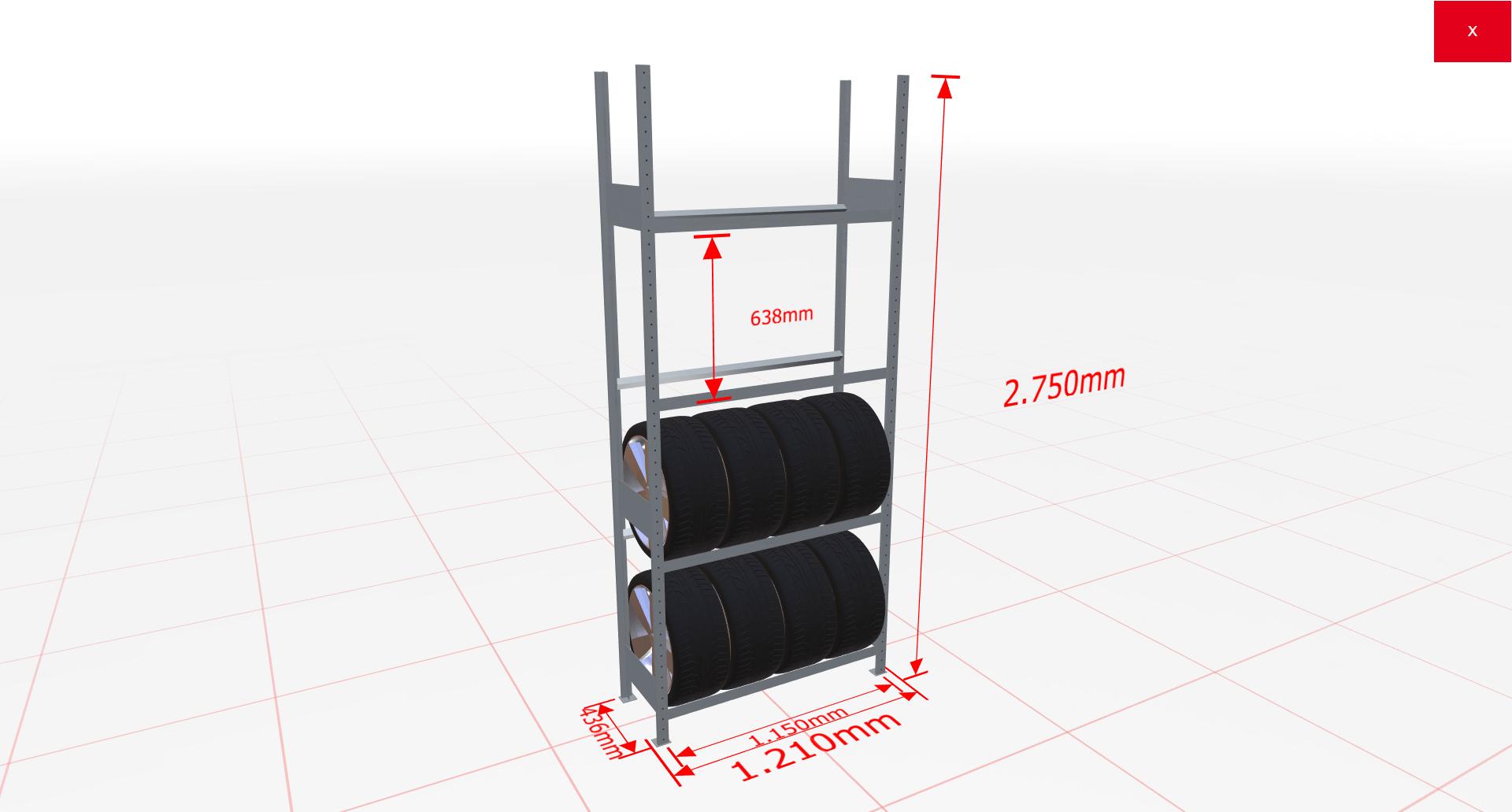 Räderregal Grundregal SCHULTE Lagertechnik 2750x1150x400 mm – 4 Ebenen á 1150 mm, verzinkt