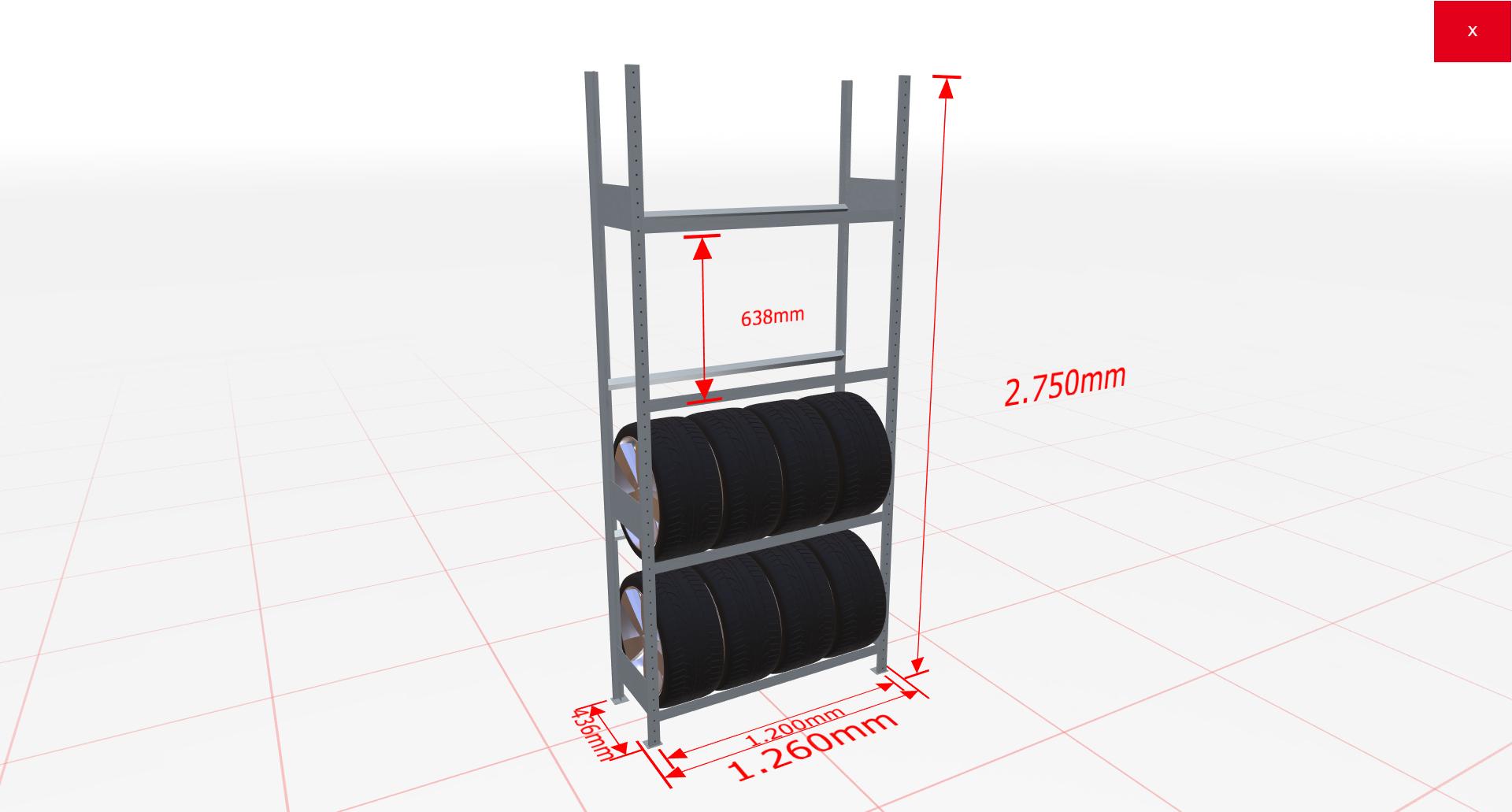 Räderregal Grundregal SCHULTE Lagertechnik 2750x1200x400 mm – 4 Ebenen á 1200 mm, verzinkt