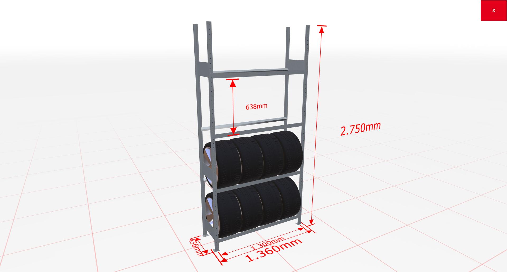 Räderregal Grundregal SCHULTE Lagertechnik 2750x1300x400 mm – 4 Ebenen á 1300 mm, verzinkt