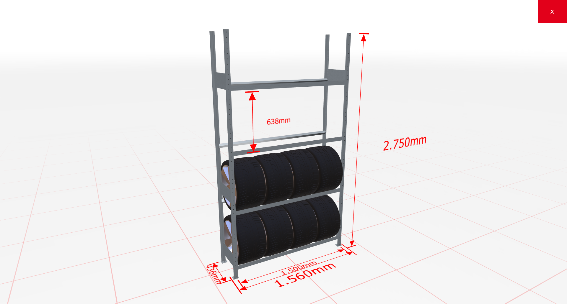Räderregal Grundregal SCHULTE Lagertechnik 2750x1500x400 mm – 4 Ebenen á 1500 mm, verzinkt