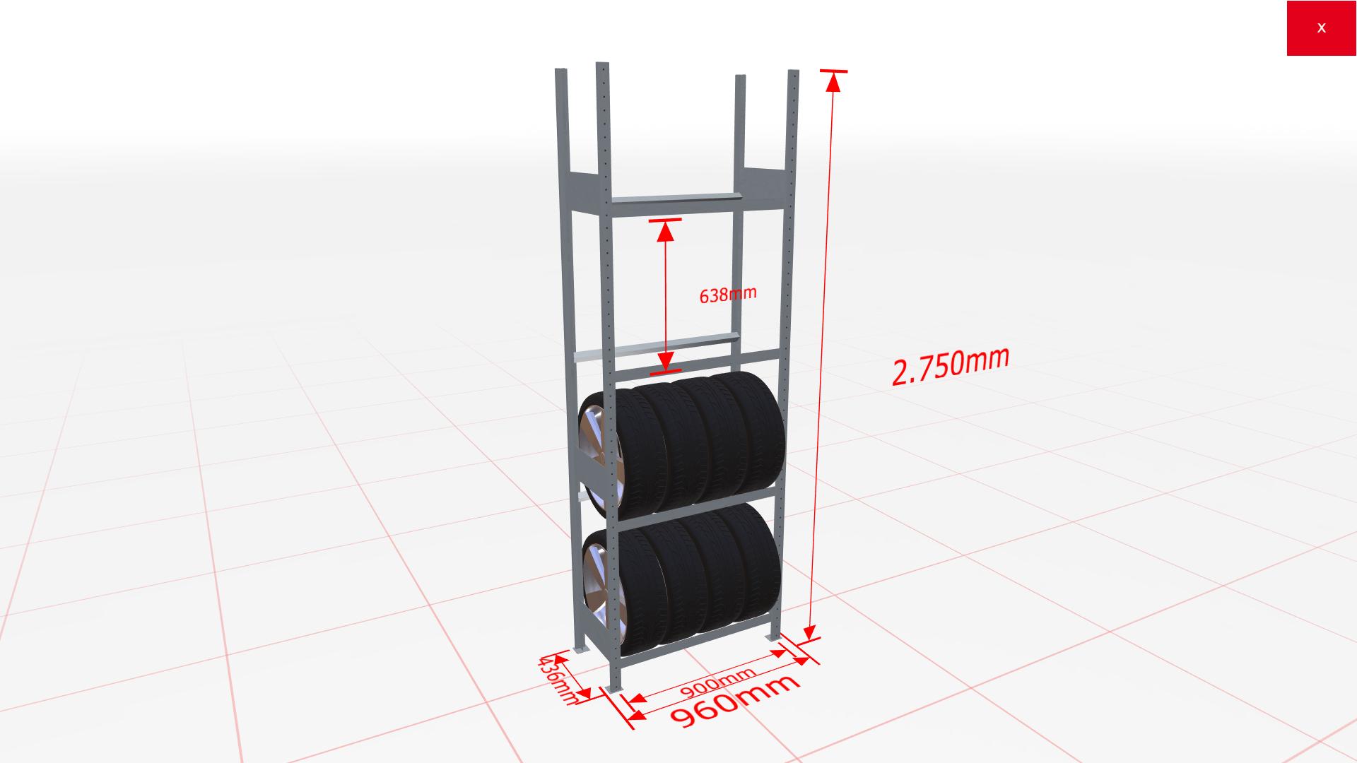 Räderregal Grundregal SCHULTE Lagertechnik 2750x900x400 mm – 4 Ebenen à 900 mm, verzinkt
