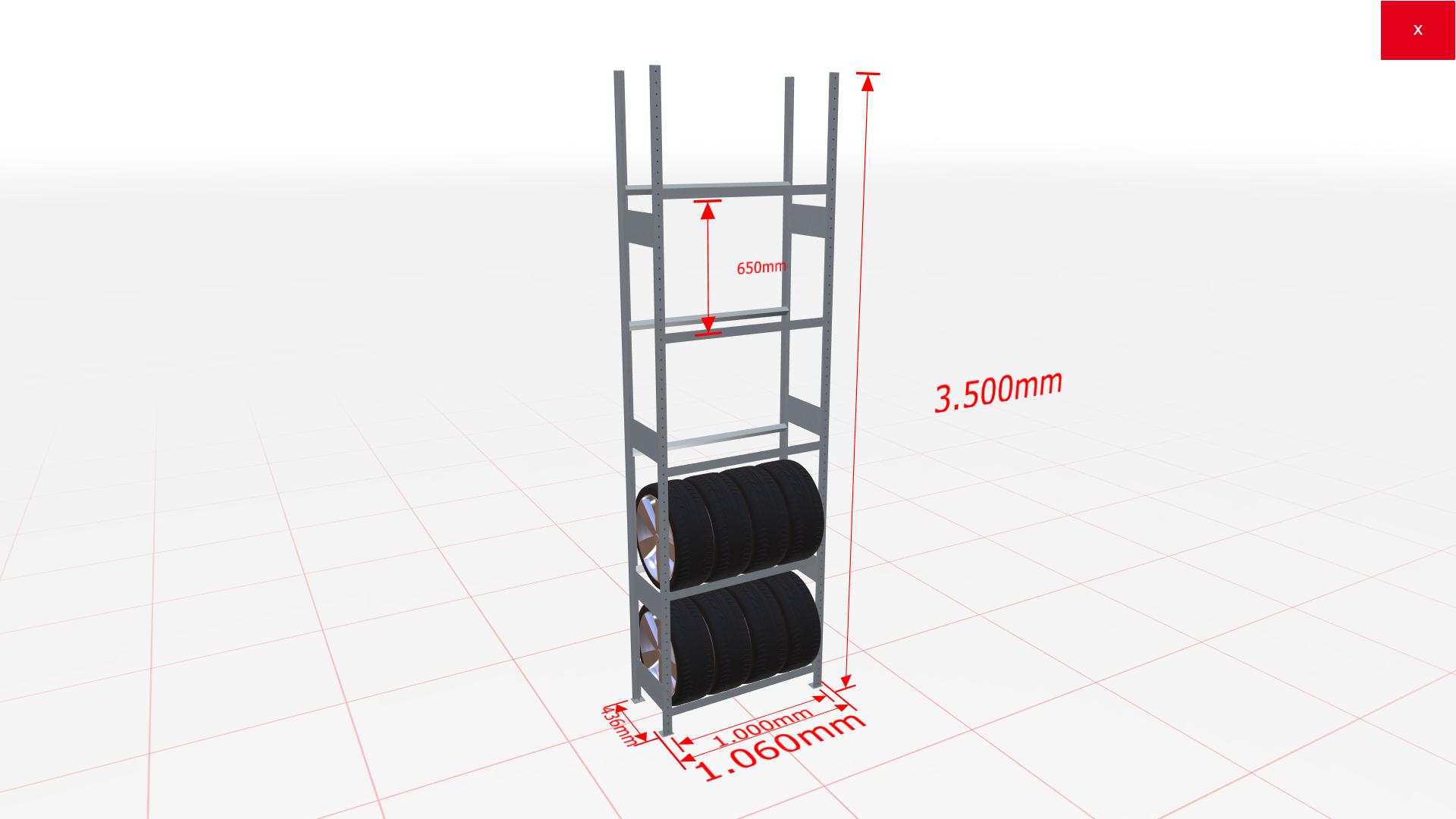Räderregal Grundregal SCHULTE Lagertechnik 3500x1000x400 mm – 5 Ebenen á 1000 mm, verzinkt