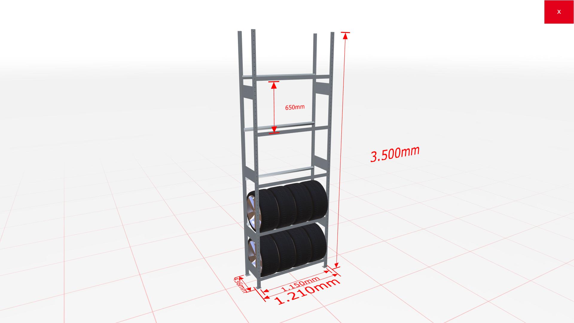 Räderregal Grundregal SCHULTE Lagertechnik 3500x1150x400 mm – 5 Ebenen á 1150 mm, verzinkt
