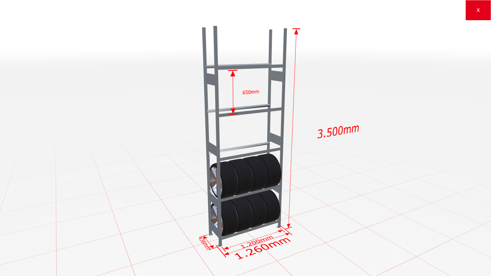 Räderregal Grundregal SCHULTE Lagertechnik 3500x1200x400 mm – 5 Ebenen á 1200 mm, verzinkt