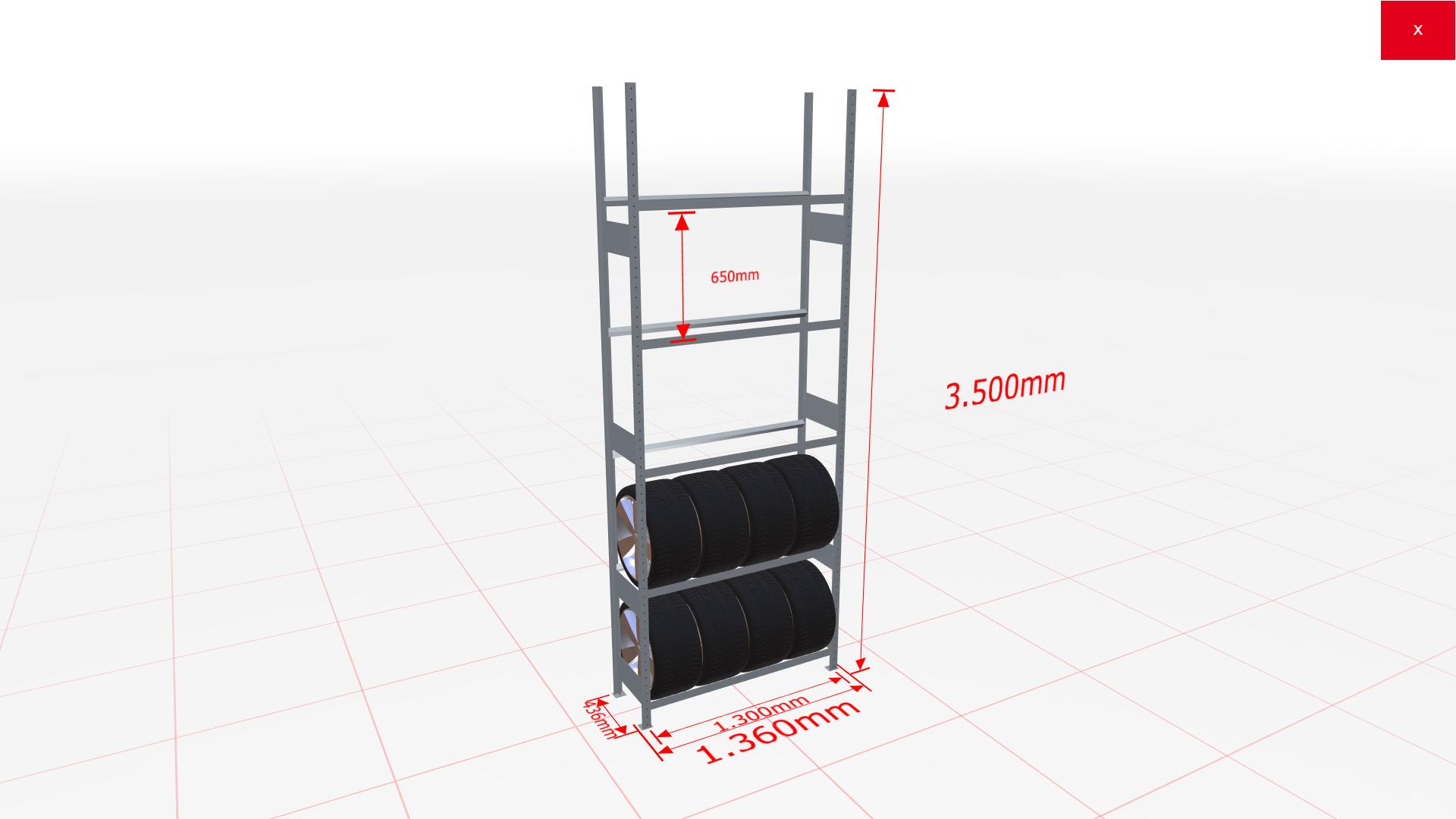 Räderregal Grundregal SCHULTE Lagertechnik 3500x1300x400 mm – 5 Ebenen á 1300 mm, verzinkt