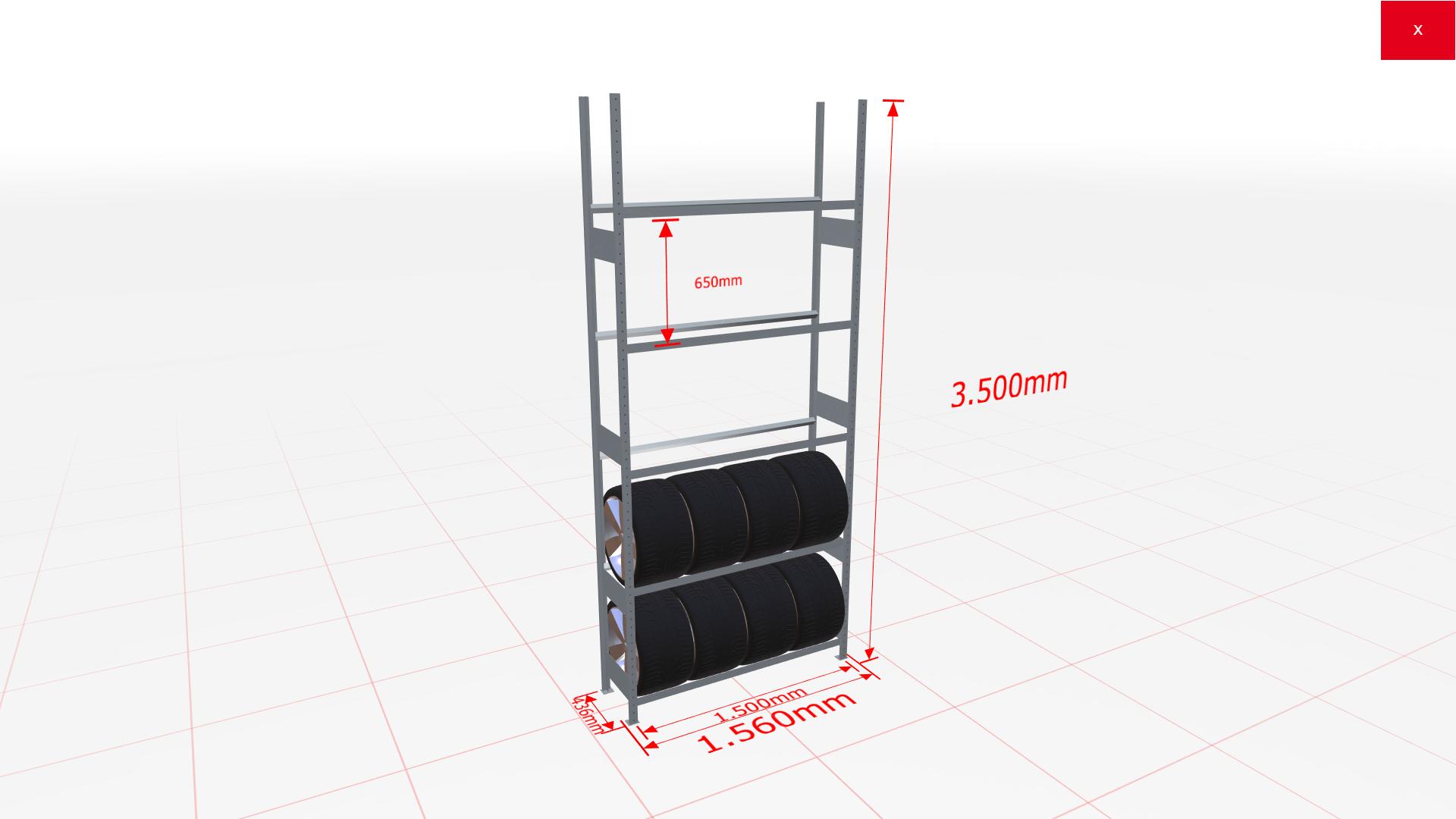 Reifenregal Grundregal SCHULTE Lagertechnik 3500x1500x400 mm – 5 Ebenen à 1500 mm, verzinkt
