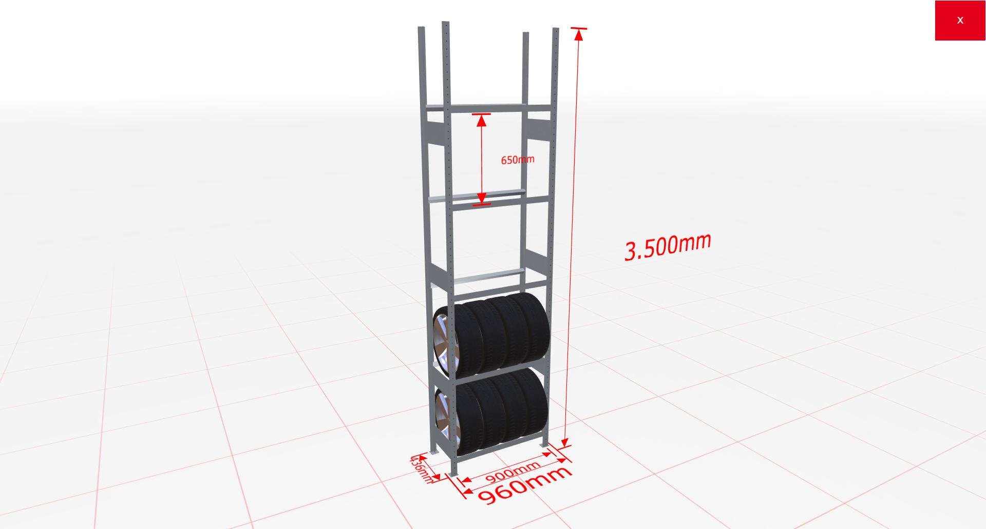 Räderregal Grundregal SCHULTE Lagertechnik 3500x900x400 mm – 5 Ebenen á 900 mm, verzinkt
