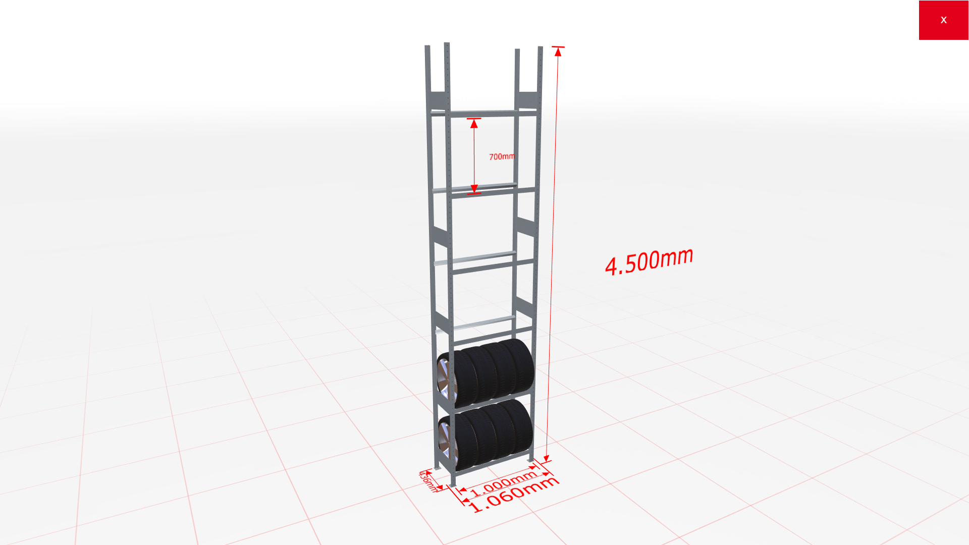 Räderregal Grundregal SCHULTE Lagertechnik 4500x1000x400 mm – 6 Ebenen á 1000 mm, verzinkt