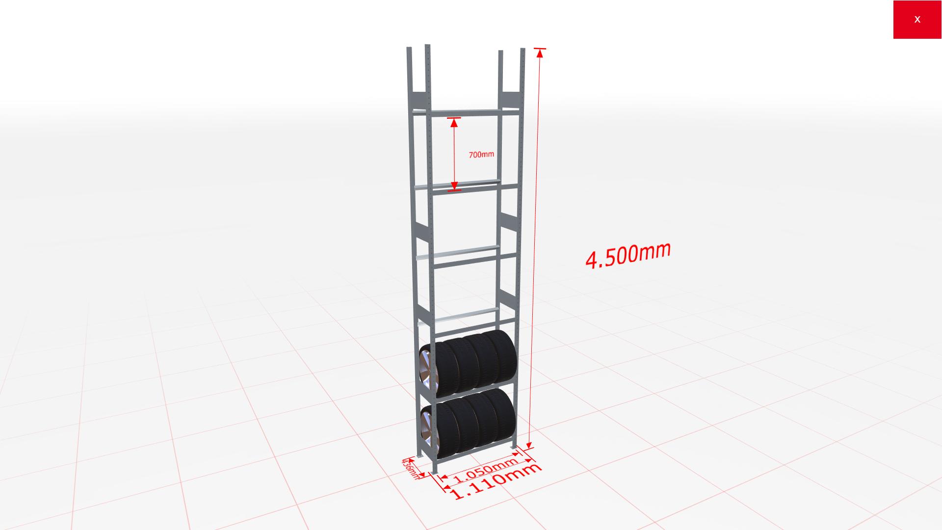 Räderregal Grundregal SCHULTE Lagertechnik 4500x1050x400 mm – 6 Ebenen á 1050 mm, verzinkt