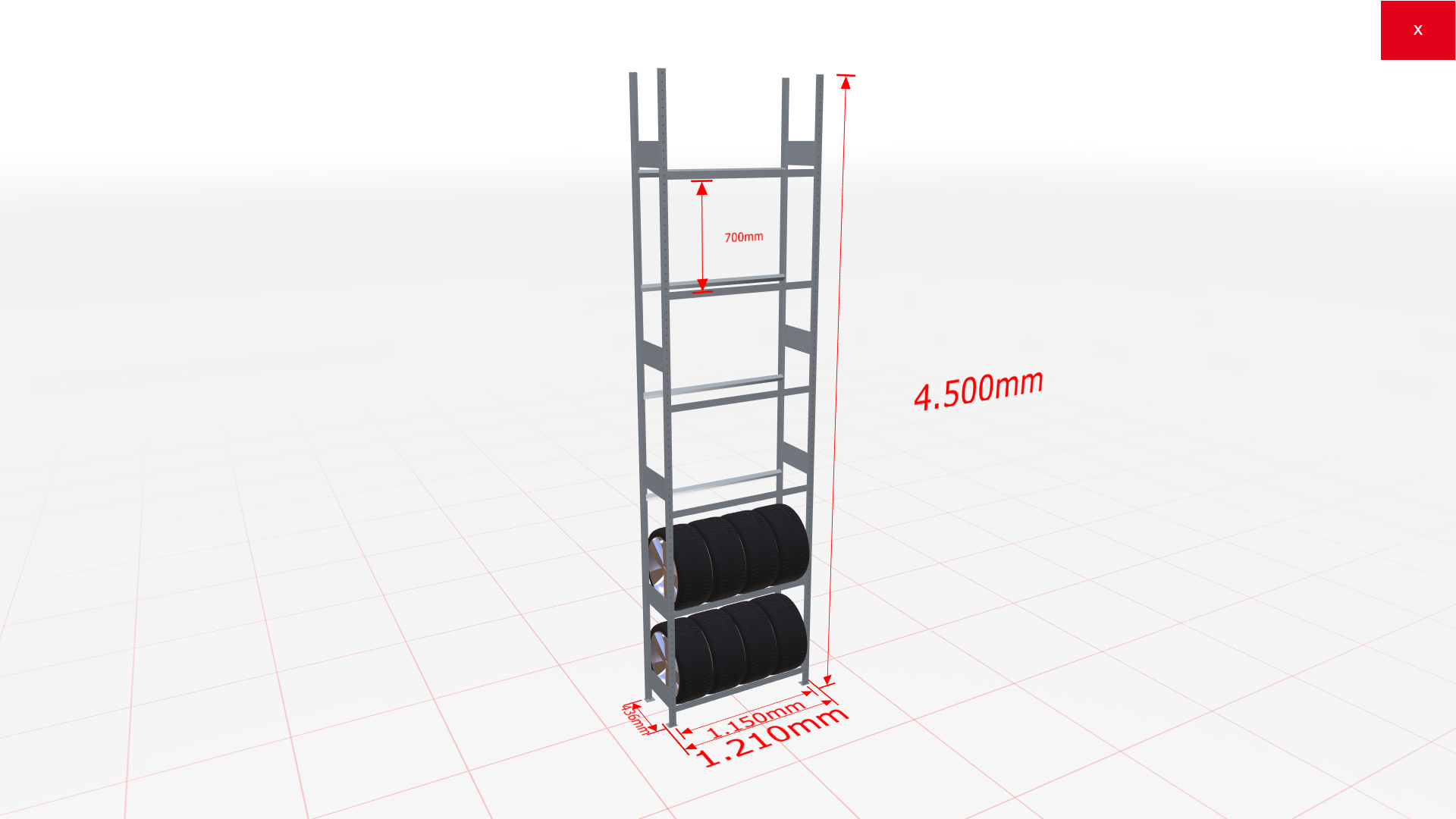 Räderregal Grundregal SCHULTE Lagertechnik 4500x1150x400 mm – 6 Ebenen á 1150 mm, verzinkt