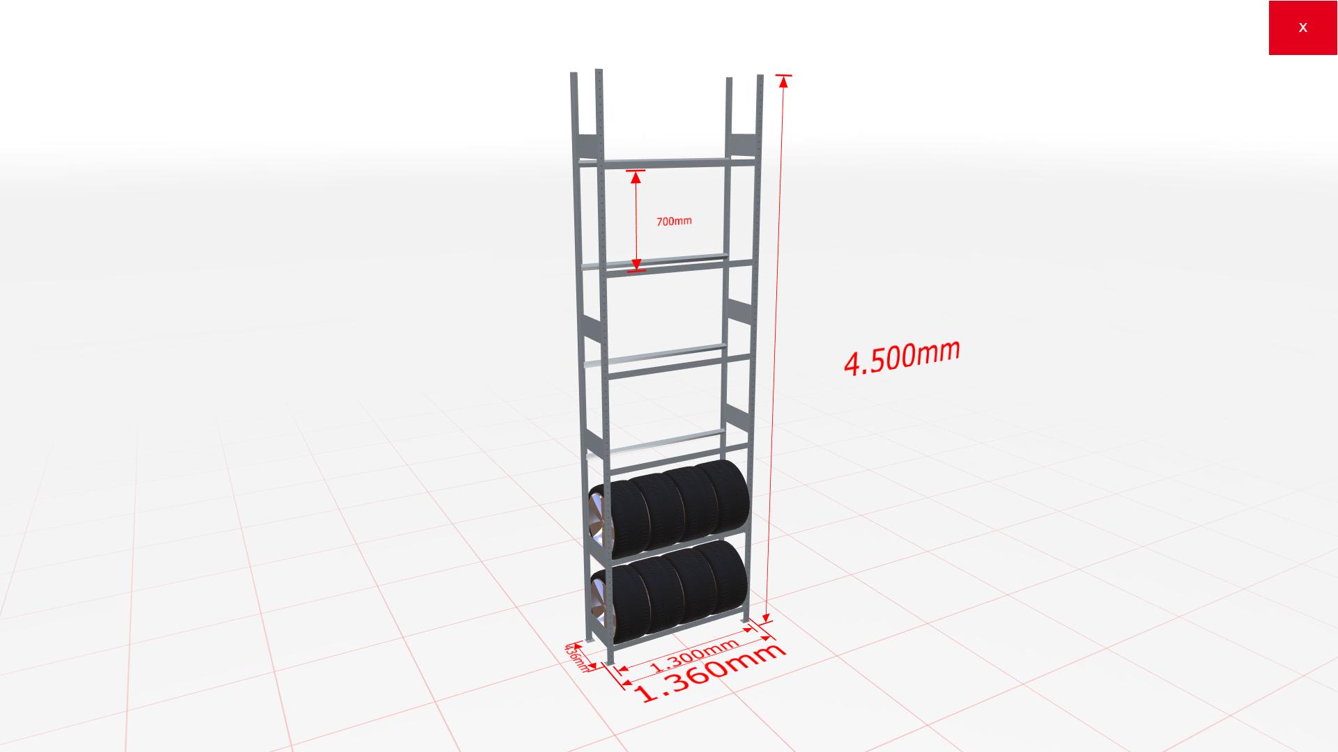 Räderregal Grundregal SCHULTE Lagertechnik 4500x1300x400 mm – 6 Ebenen á 1300 mm, verzinkt