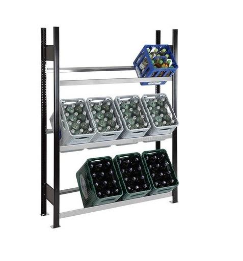 Getränkekistenregal 12 Kisten SCHULTE Grundregal – 1800x1300x300 mm (HxBxT) schwarz-silber