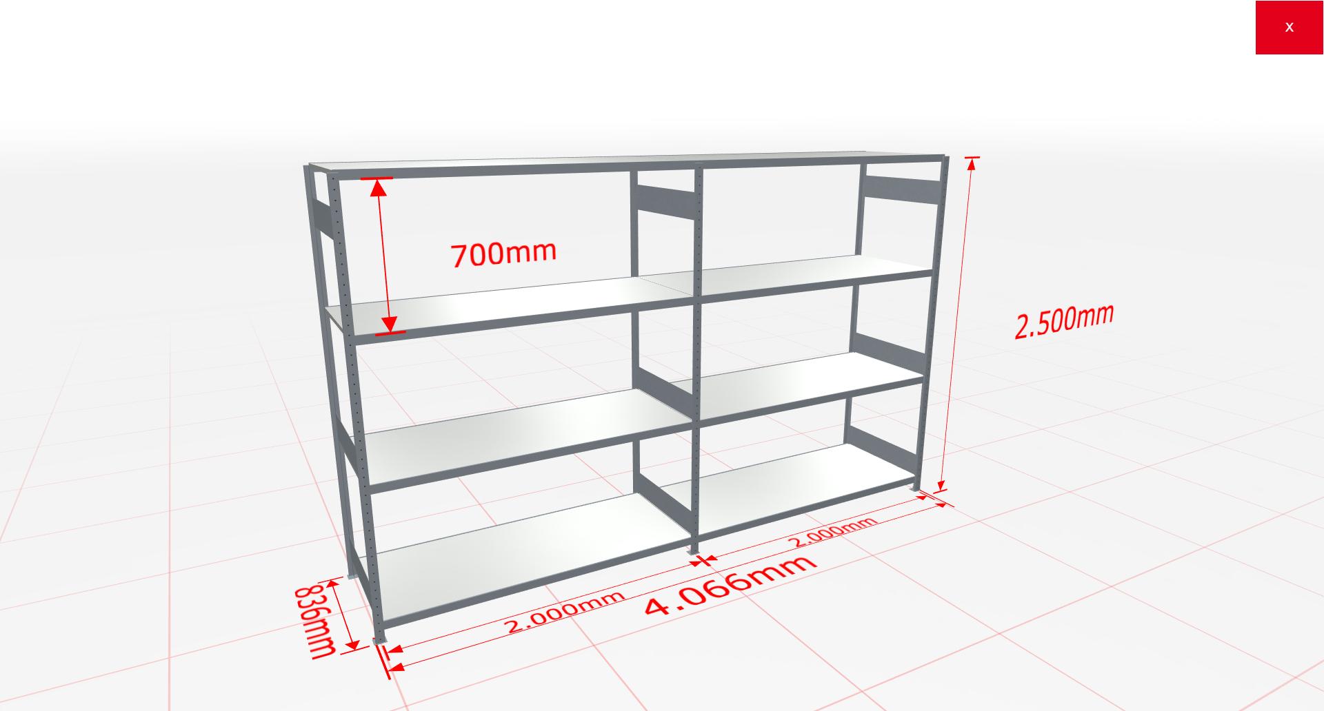 Weitspannregal Komplettregal 2500x4066x800 mm (HxBxT) SCHULTE Lagertechnik verzinkt mit Stahlböden