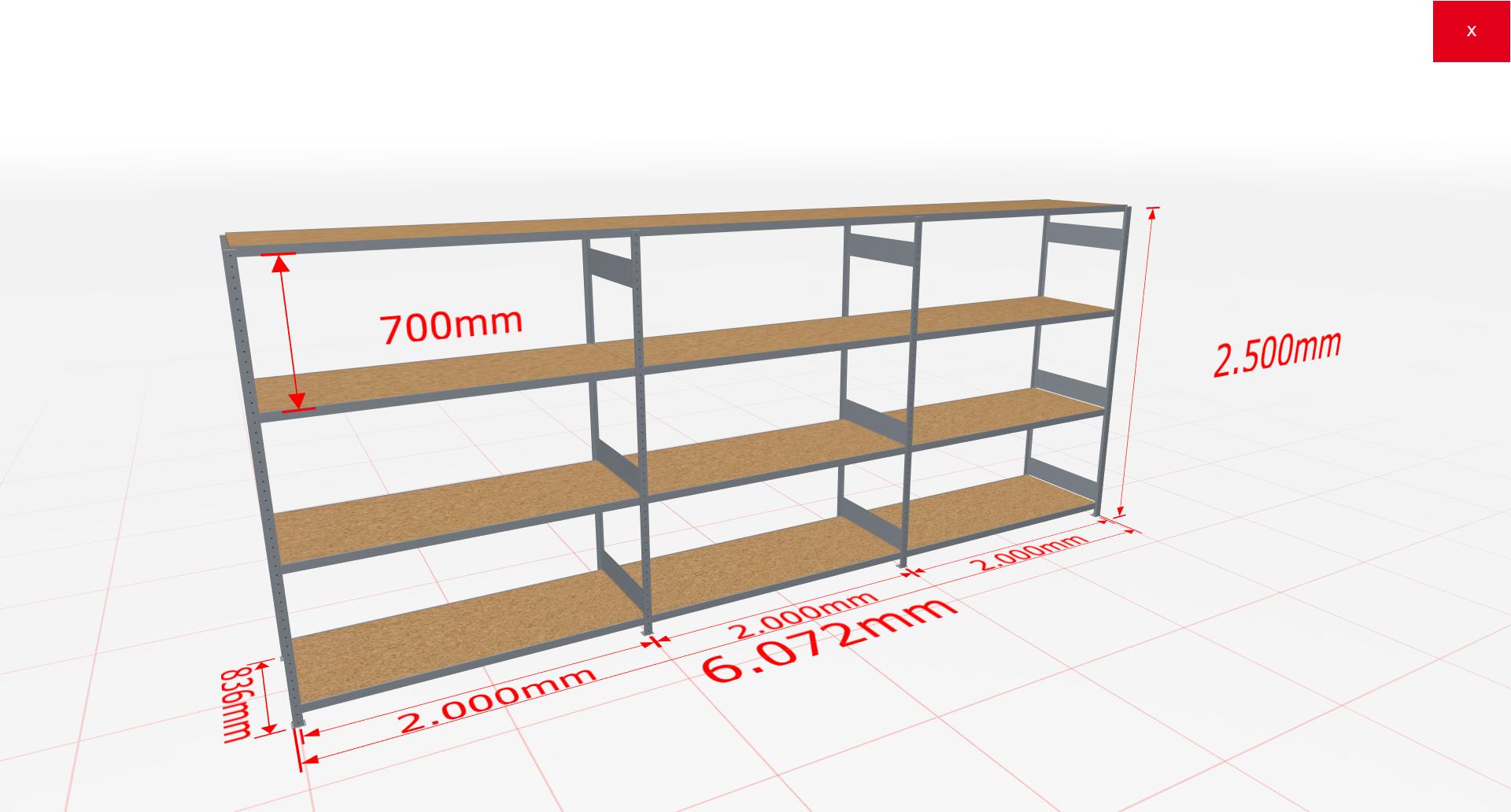 Weitspannregal Komplettregal 2500x6072x800 mm (HxBxT) SCHULTE Lagertechnik verzinkt mit Spanplattenböden
