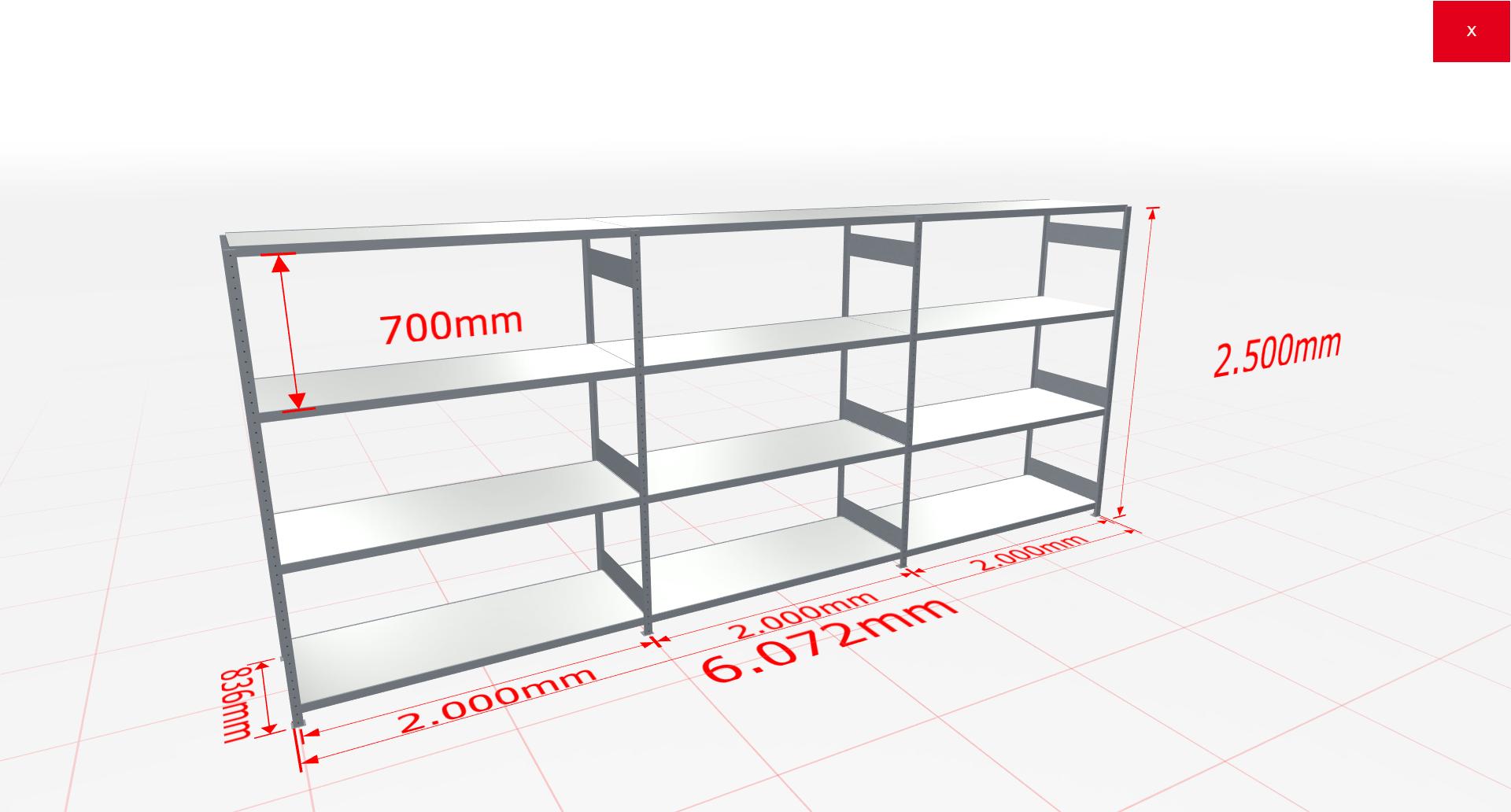 Weitspannregal Komplettregal 2500x6072x800 mm (HxBxT) SCHULTE Lagertechnik verzinkt mit Stahlböden