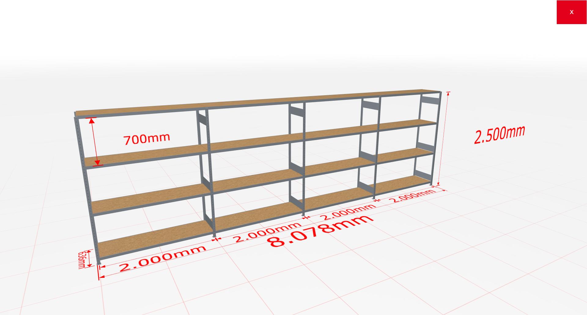 Weitspannregal Komplettregal 2500x8078x600 mm (HxBxT) SCHULTE Lagertechnik verzinkt mit Spanplattenböden