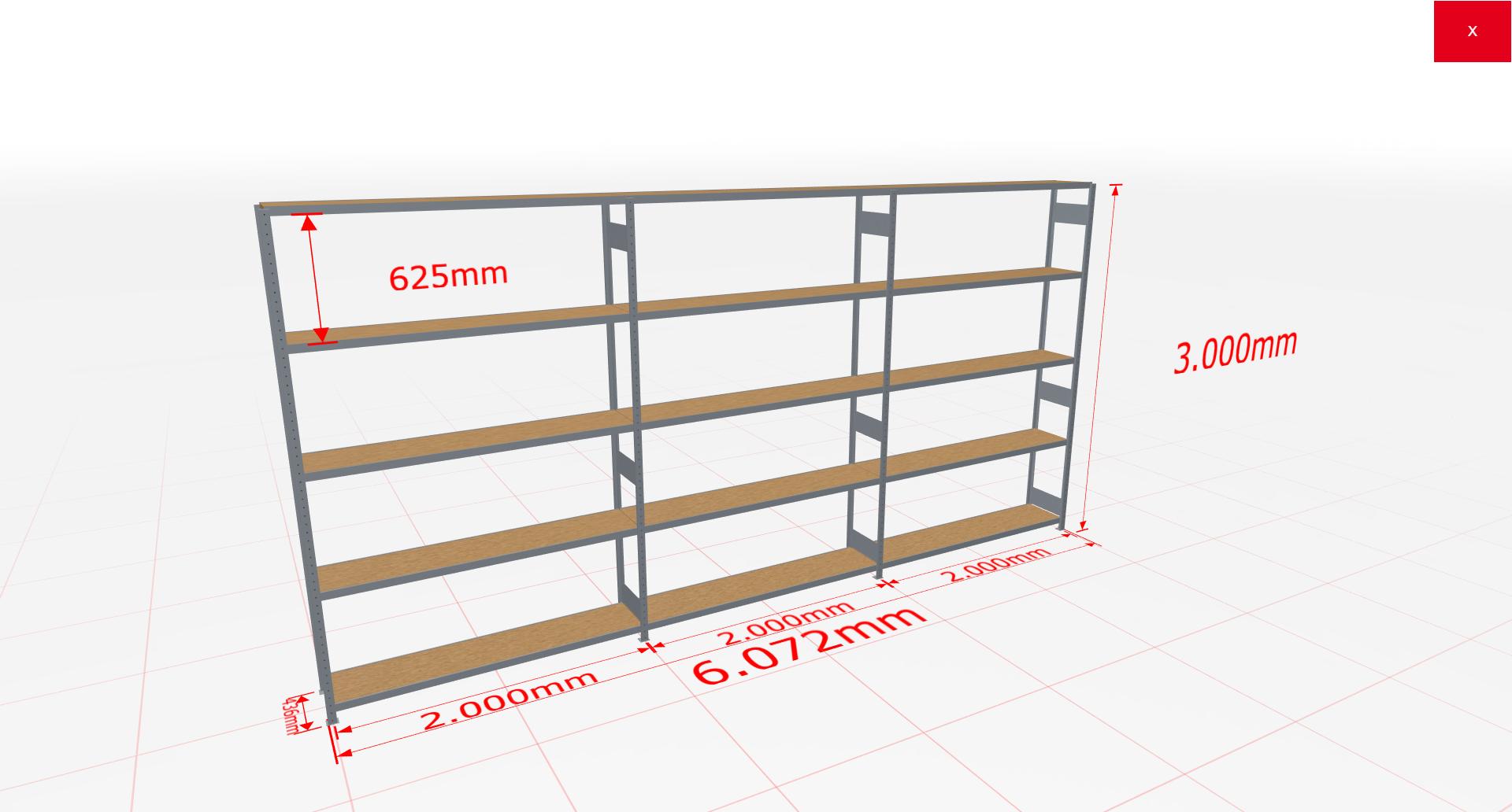 Weitspannregal Komplettregal 3000x6072x400 mm (HxBxT) SCHULTE Lagertechnik verzinkt mit Spanplattenböden