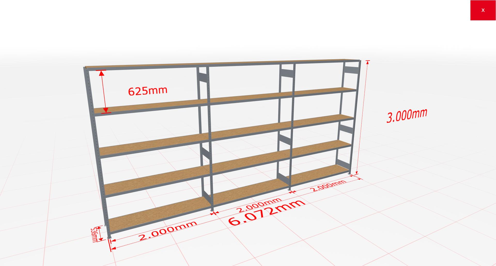 Weitspannregal Komplettregal 3000x6072x500 mm (HxBxT) SCHULTE Lagertechnik verzinkt mit Spanplattenböden