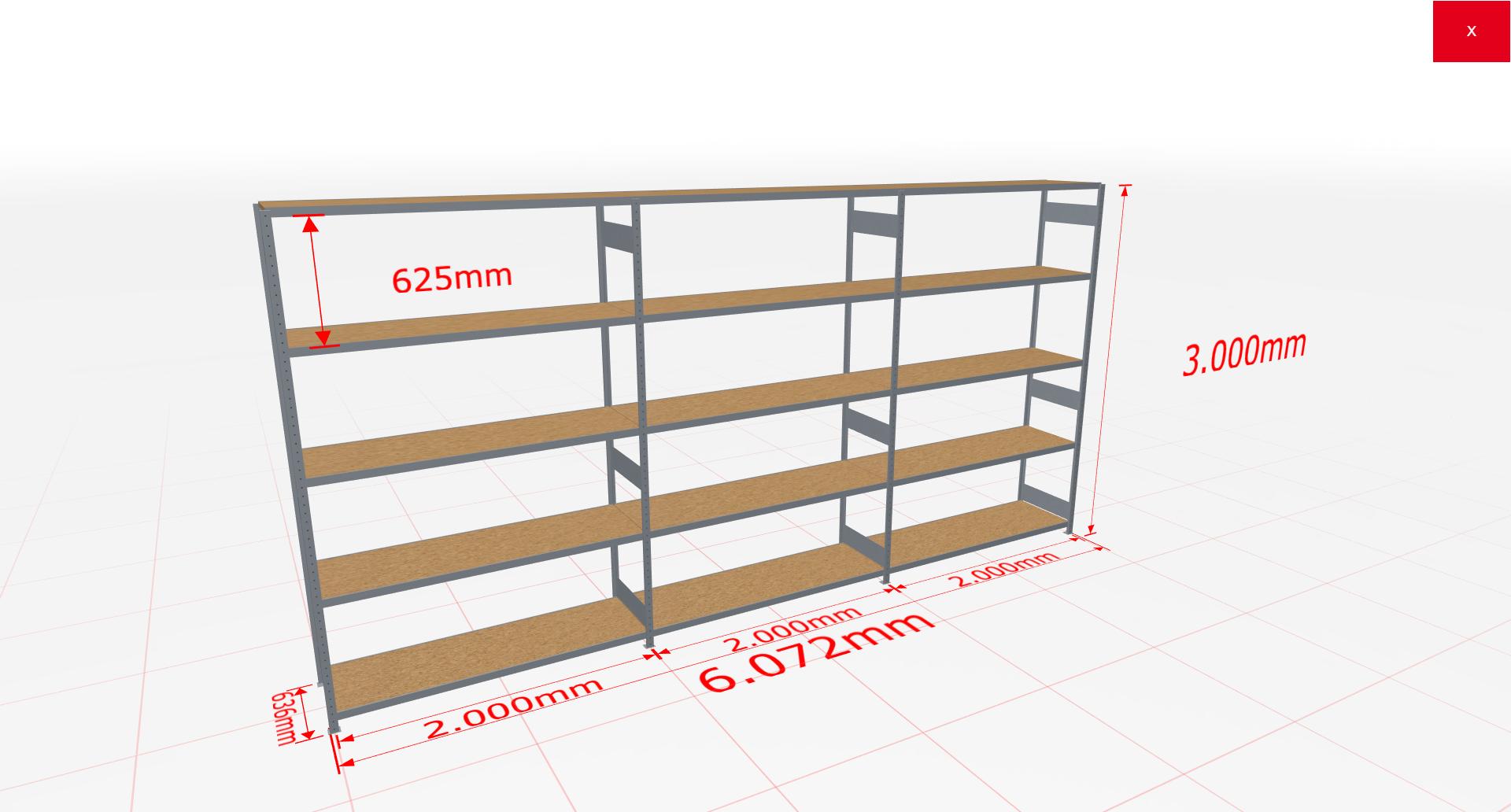 Weitspannregal Komplettregal 3000x6072x600 mm (HxBxT) SCHULTE Lagertechnik verzinkt mit Spanplattenböden