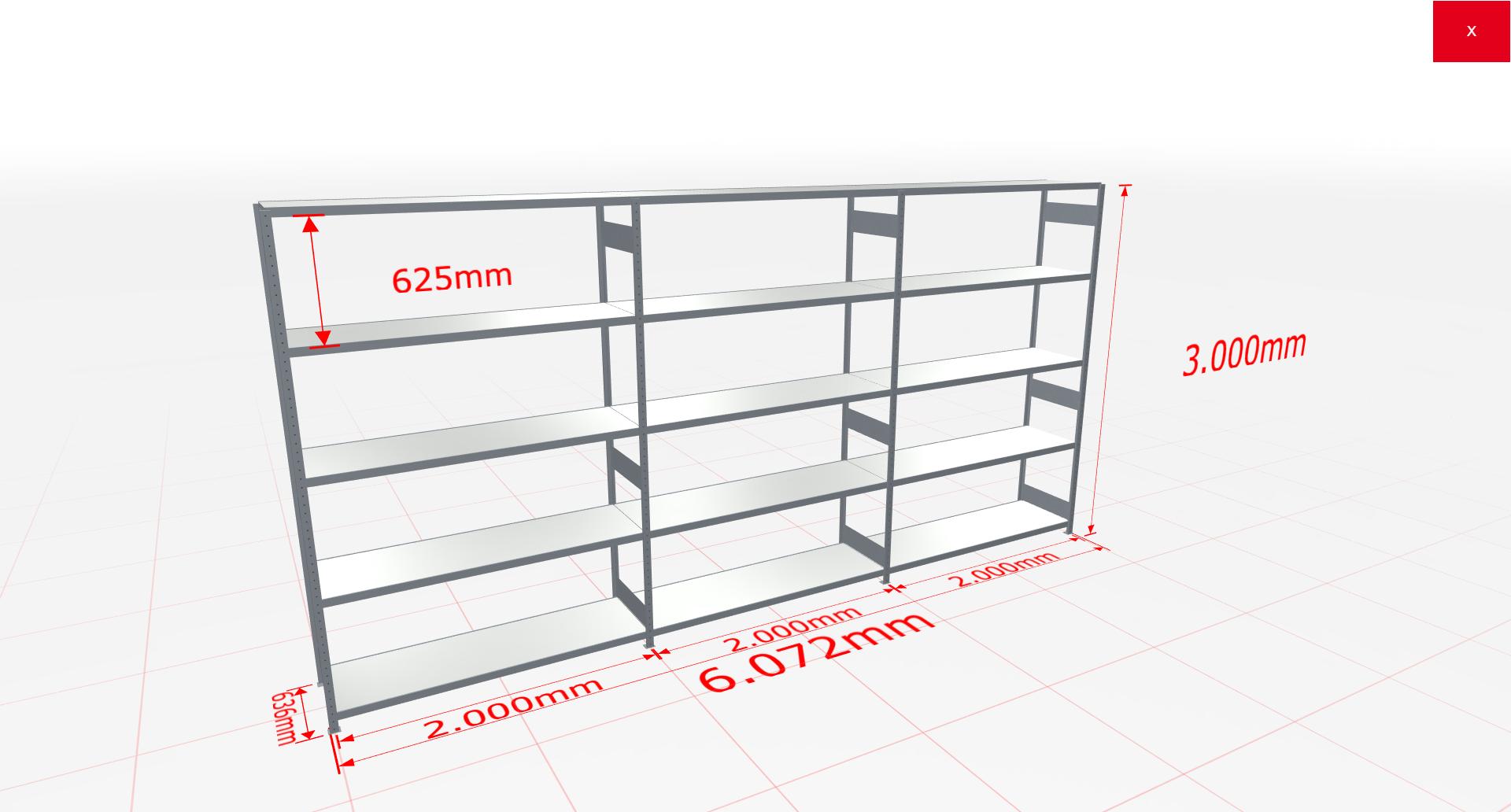 Weitspannregal Komplettregal 3000x6072x600 mm (HxBxT) SCHULTE Lagertechnik verzinkt mit Stahlböden