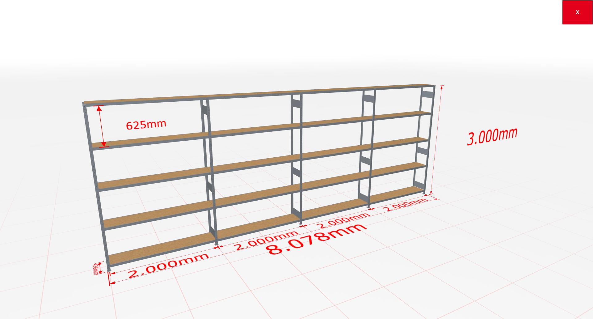 Weitspannregal Komplettregal 3000x8078x400 mm (HxBxT) SCHULTE Lagertechnik verzinkt mit Spanplattenböden