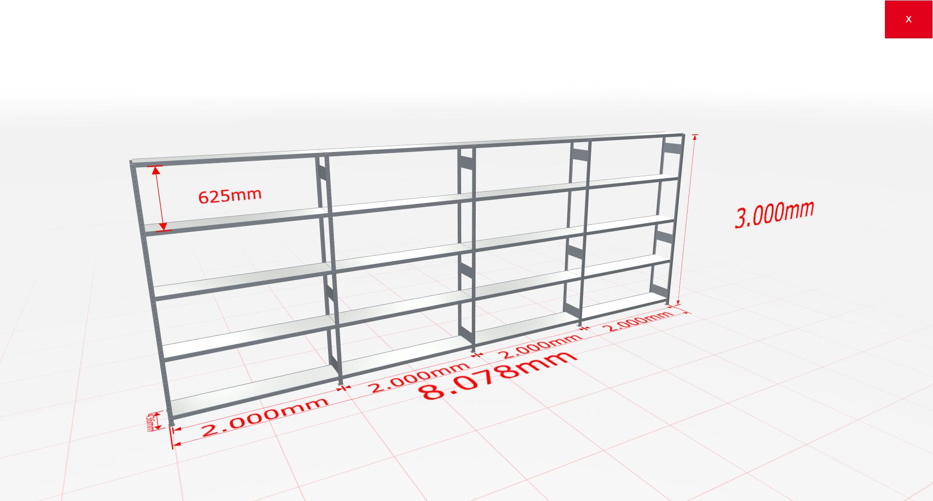 Weitspannregal Komplettregal 3000x8078x400 mm (HxBxT) SCHULTE Lagertechnik verzinkt mit Stahlböden