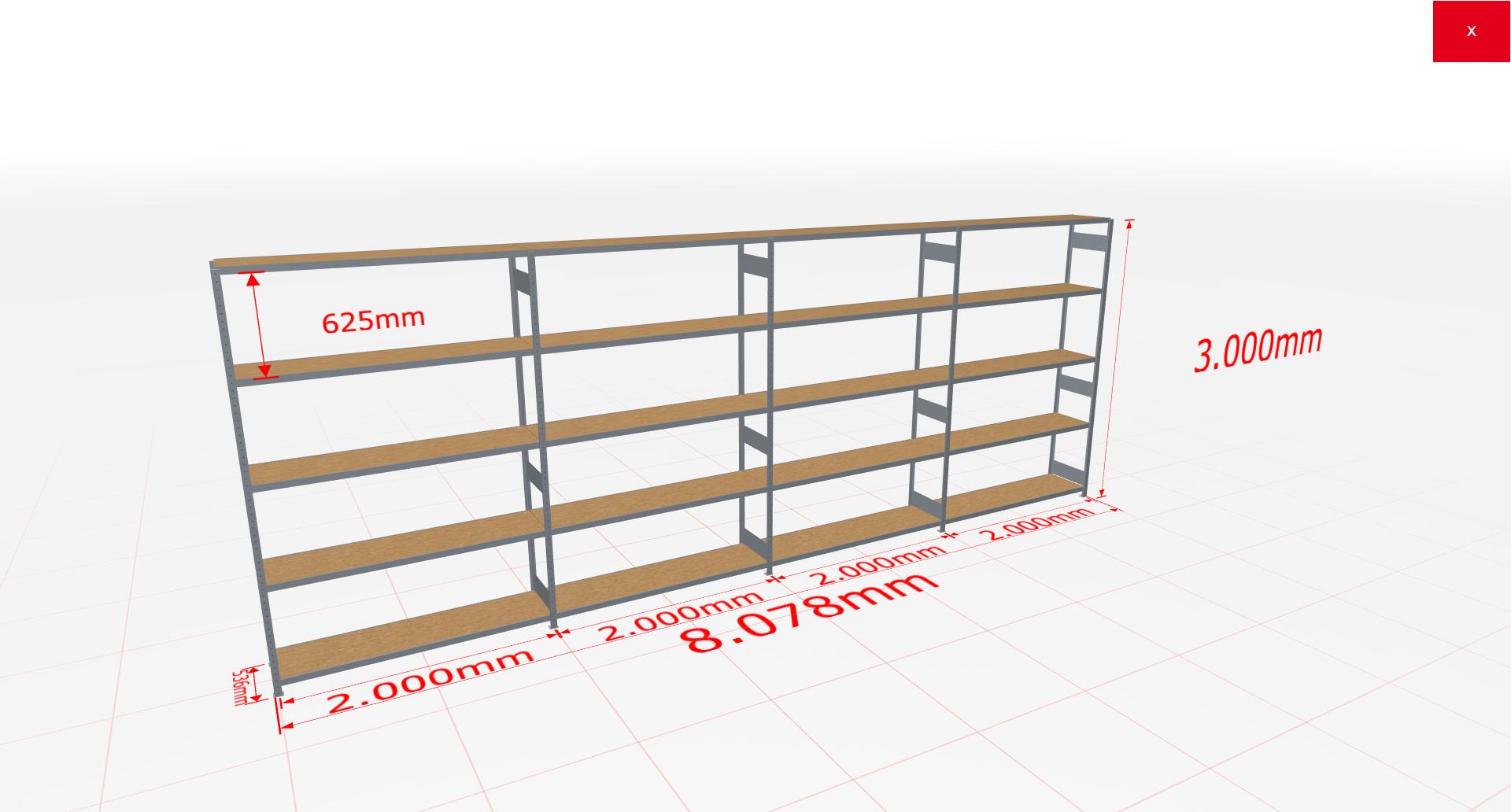 Weitspannregal Komplettregal 3000x8078x500 mm (HxBxT) SCHULTE Lagertechnik verzinkt mit Spanplattenböden