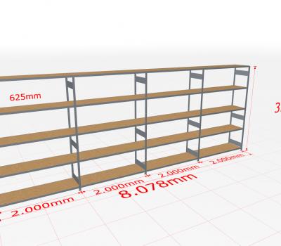 Weitspannregal Komplettregal 3000x8078x600 mm (HxBxT) SCHULTE Lagertechnik verzinkt mit Spanplattenböden