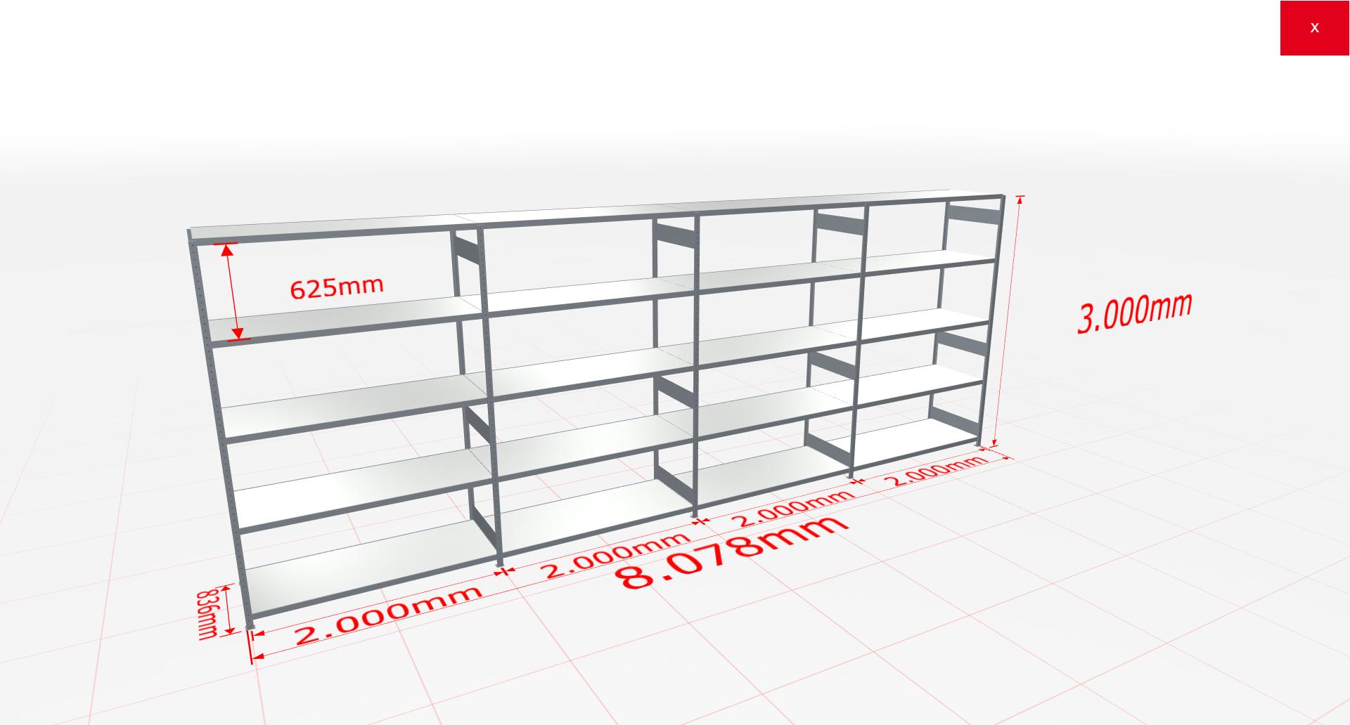 Weitspannregal Komplettregal 3000x8078x800 mm (HxBxT) SCHULTE Lagertechnik verzinkt mit Stahlböden