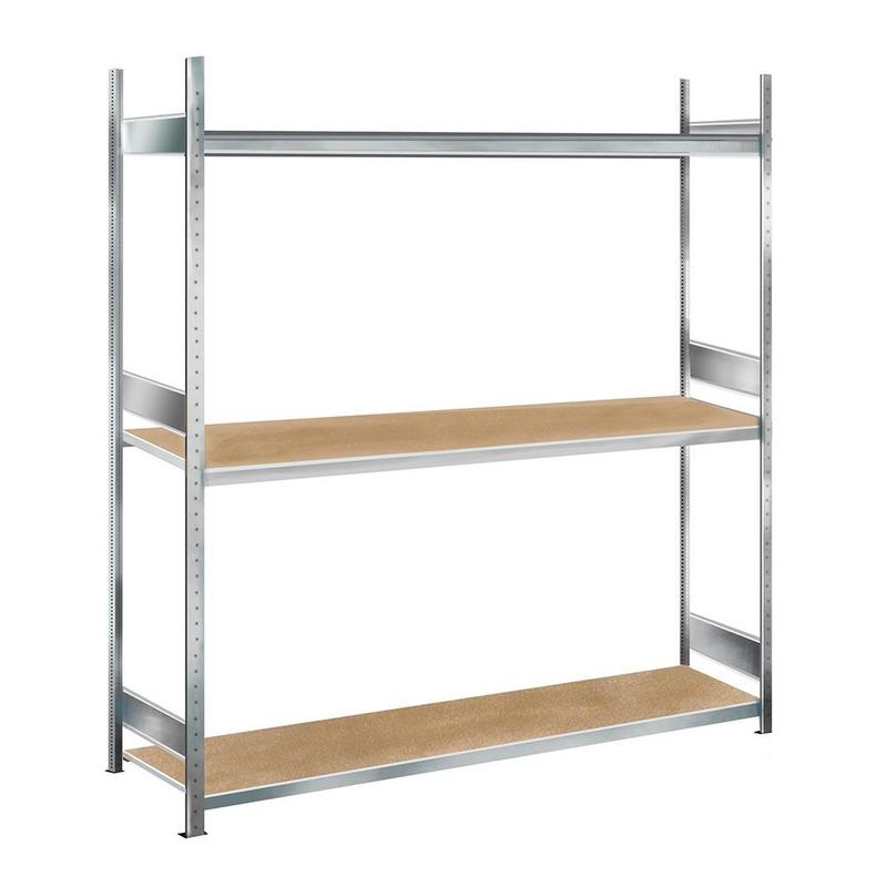 Weitspannregal Grundregal SCHULTE Lagertechnik WS 2000 – 2000x2500x600 mm, 3 Ebenen mit Spanplatten