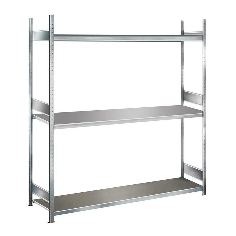 Weitspannregal Anbauregal SCHULTE Lagertechnik WS  2000 – 2000x1500x500 mm, 3 Ebenen mit Stahlboden