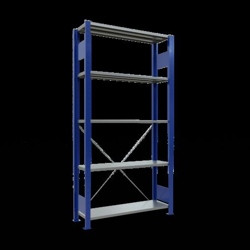 Steckregal Grundregal 2000x1000x300 mm 5 Fachböden, Kreuzstrebe, RAL 5010/verzinkt, 12630-B 5 Fachböden SCHULTE Lagertechnik