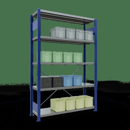 Steckregal Grundregal 2000x1300x400 mm Fachlast 250 kg Rahmen montiert 5 Fachböden SCHULTE Lagertechnik