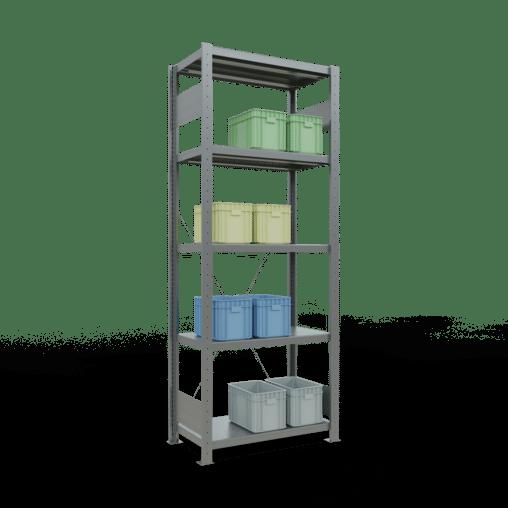 Steckregal Grundregal 2000x750x400 mm Fachlast 250 kg Rahmen montiert 5 Fachböden SCHULTE Lagertechnik