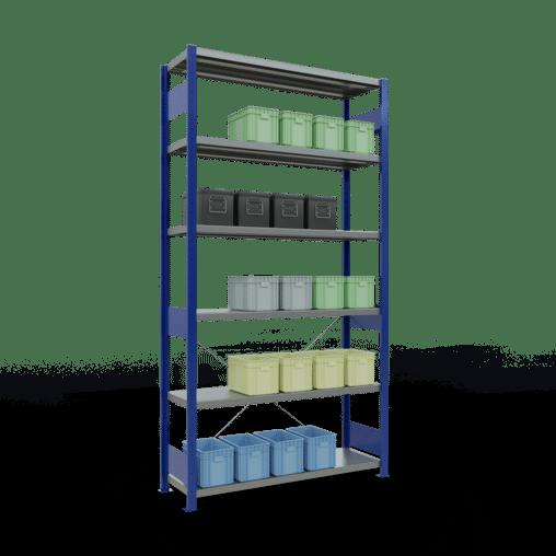 Steckregal Grundregal 2500x1300x400 mm Fachlast 250 kg Rahmen montiert 6 Fachböden SCHULTE Lagertechnik