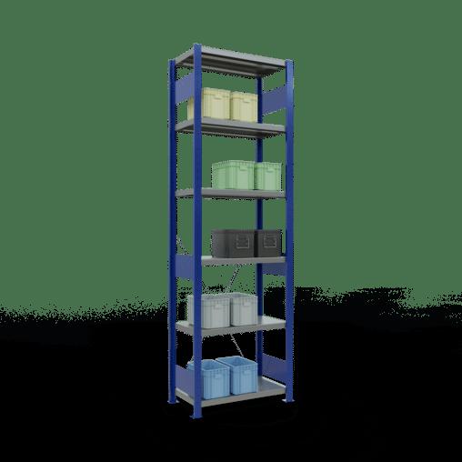 Steckregal Grundregal 2500x750x400 mm Fachlast 250 kg Rahmen montiert 6 Fachböden SCHULTE Lagertechnik