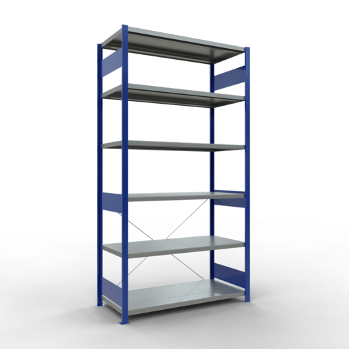 Steckregal Grundregal 2500x1300x600 mm Fachlast 250 kg Rahmen montiert 6 Fachböden SCHULTE Lagertechnik