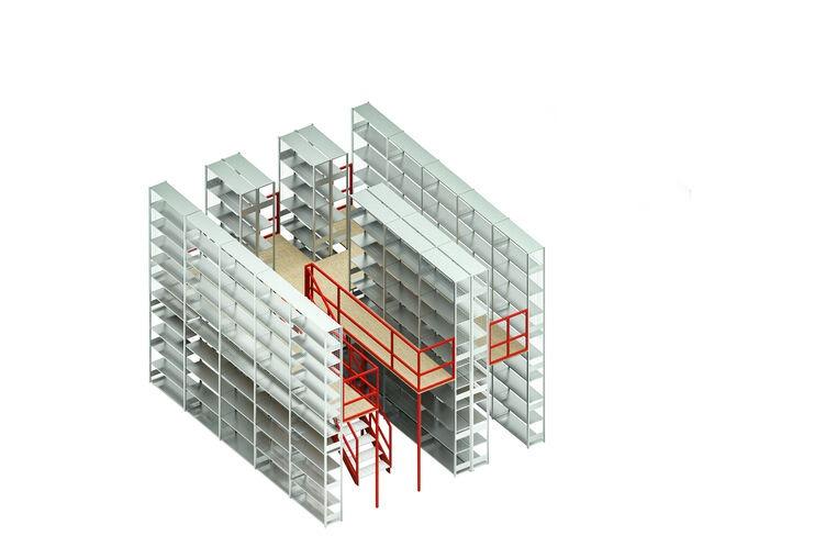 Geschossanlage 2-geschossige Fachbodenregalanlage, 5000 x 5620 x 6580 mm (HxBxT), inkl. Montage