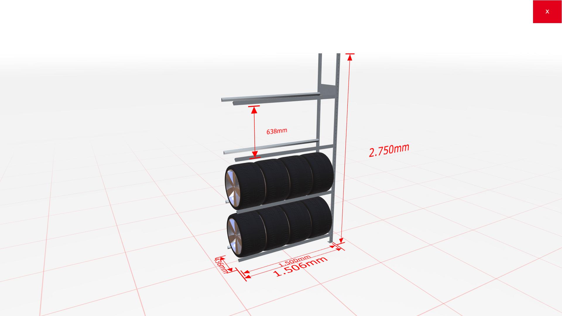 Räderregal Anbauregal SCHULTE Lagertechnik 2750x1500x400 mm – 4 Ebenen á 1500 mm, verzinkt