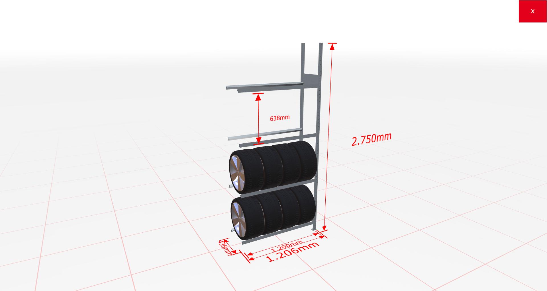 Räderregal Anbauregal SCHULTE Lagertechnik 2750x1200x400 mm – 4 Ebenen á 1200 mm, verzinkt