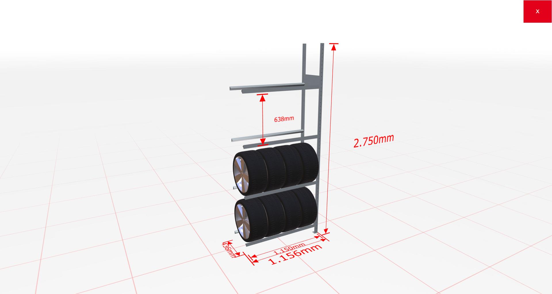 Räderregal Anbauregal SCHULTE Lagertechnik 2750x1150x400 mm – 4 Ebenen á 1150 mm, verzinkt
