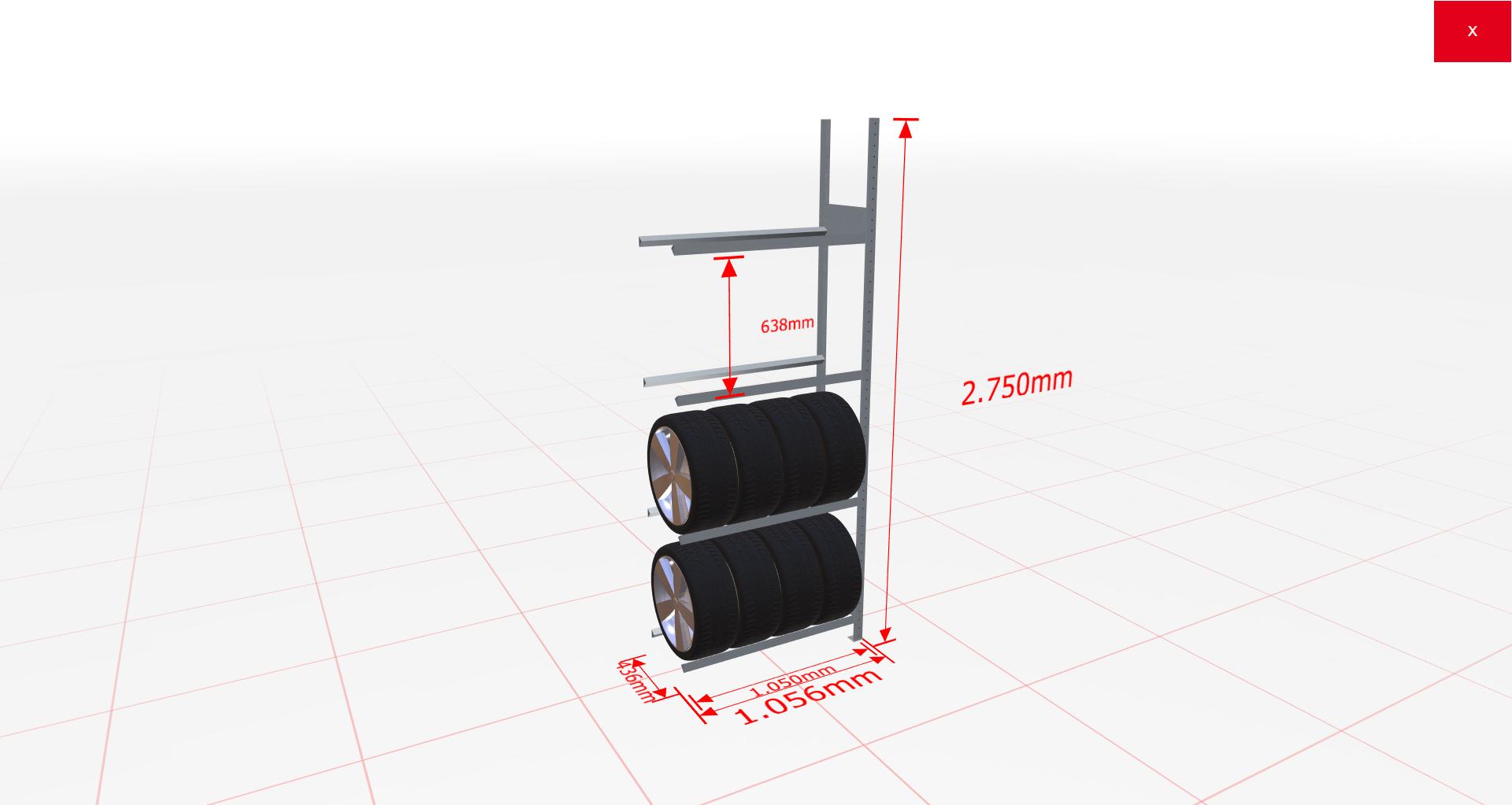 Räderregal Anbauregal SCHULTE Lagertechnik 2750x1050x400 mm – 4 Ebenen á 1050 mm, verzinkt