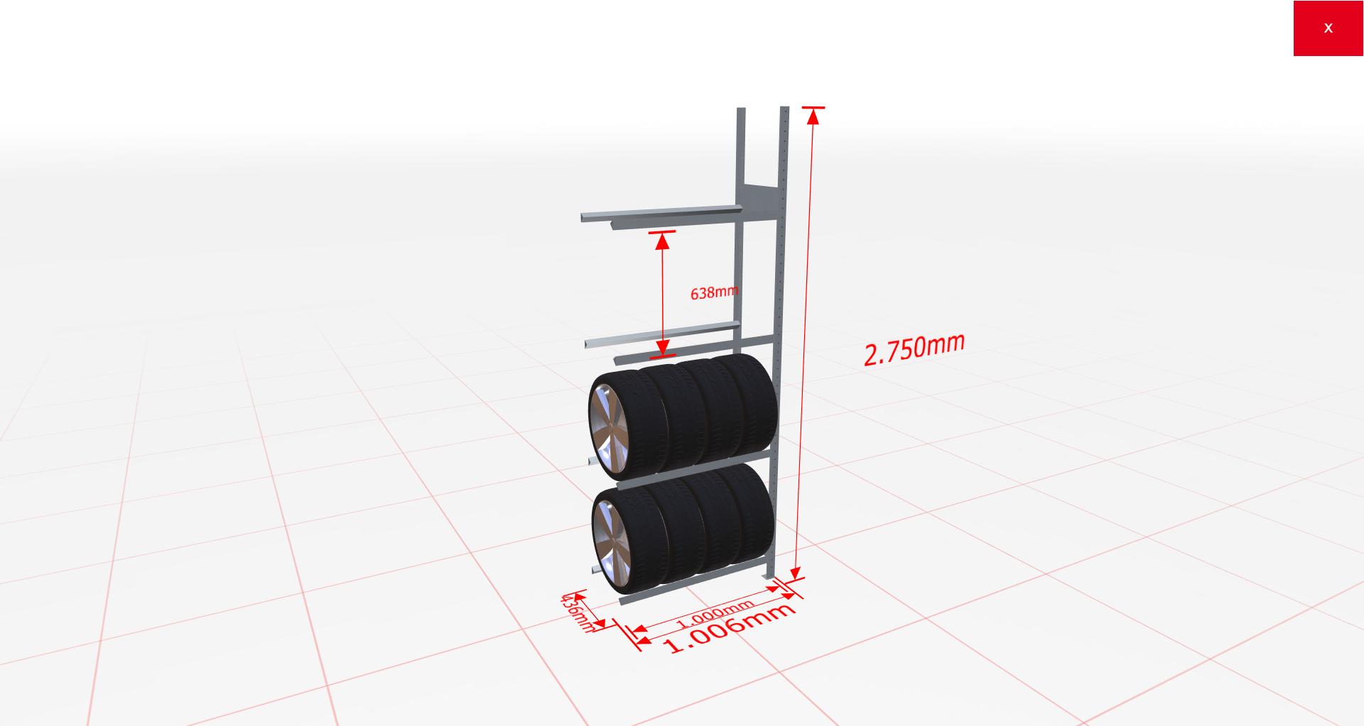 Räderregal Anbauregal SCHULTE Lagertechnik 2750x1000x400 mm – 4 Ebenen á 1000 mm, verzinkt