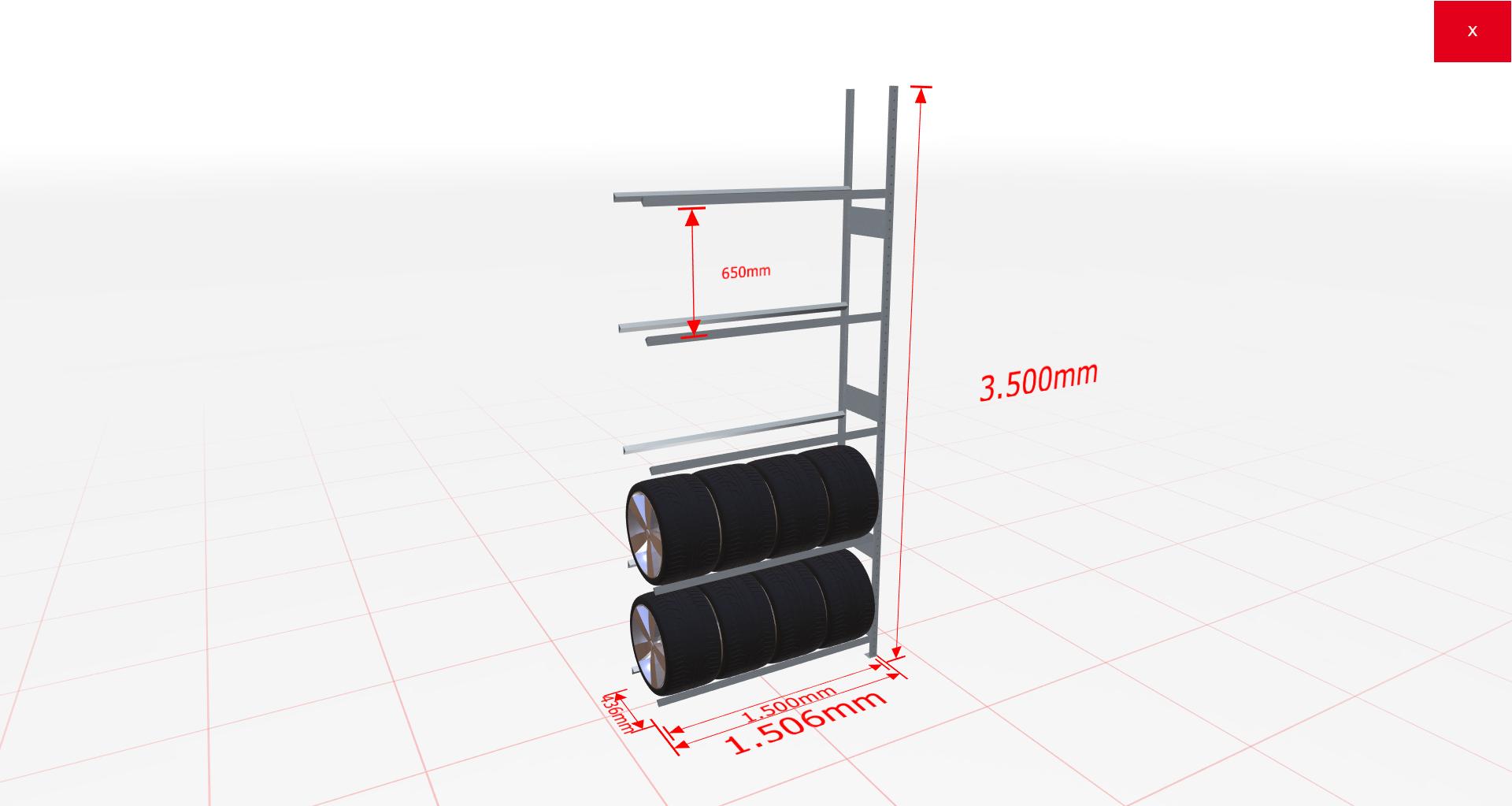 Reifenregal Anbauregal SCHULTE Lagertechnik 3500x1500x400 mm – 5 Ebenen à 1500 mm, verzinkt