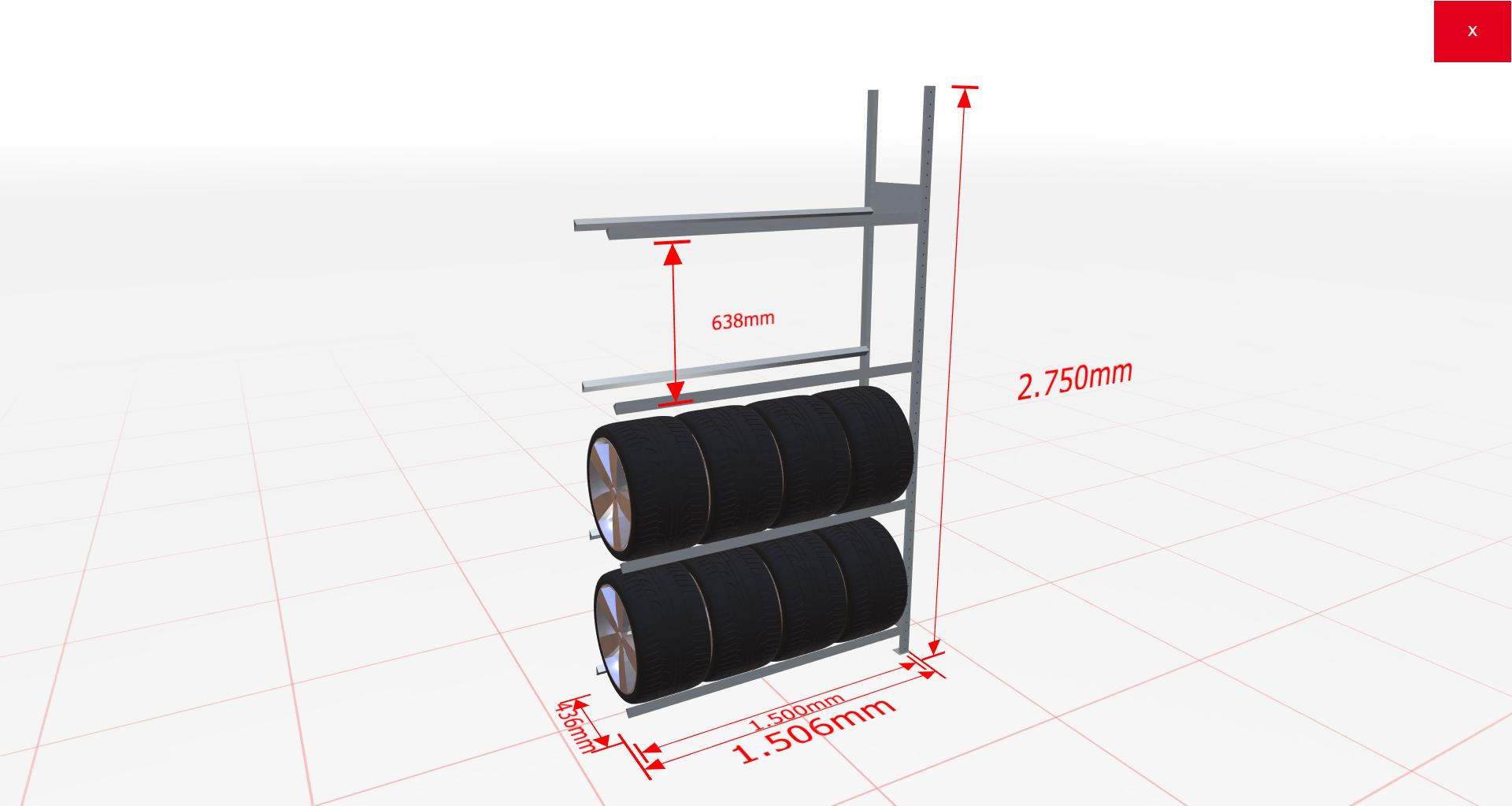 Reifenregal Anbauregal SCHULTE Lagertechnik 2750x1500x400 mm – 4 Ebenen à 1500 mm, verzinkt