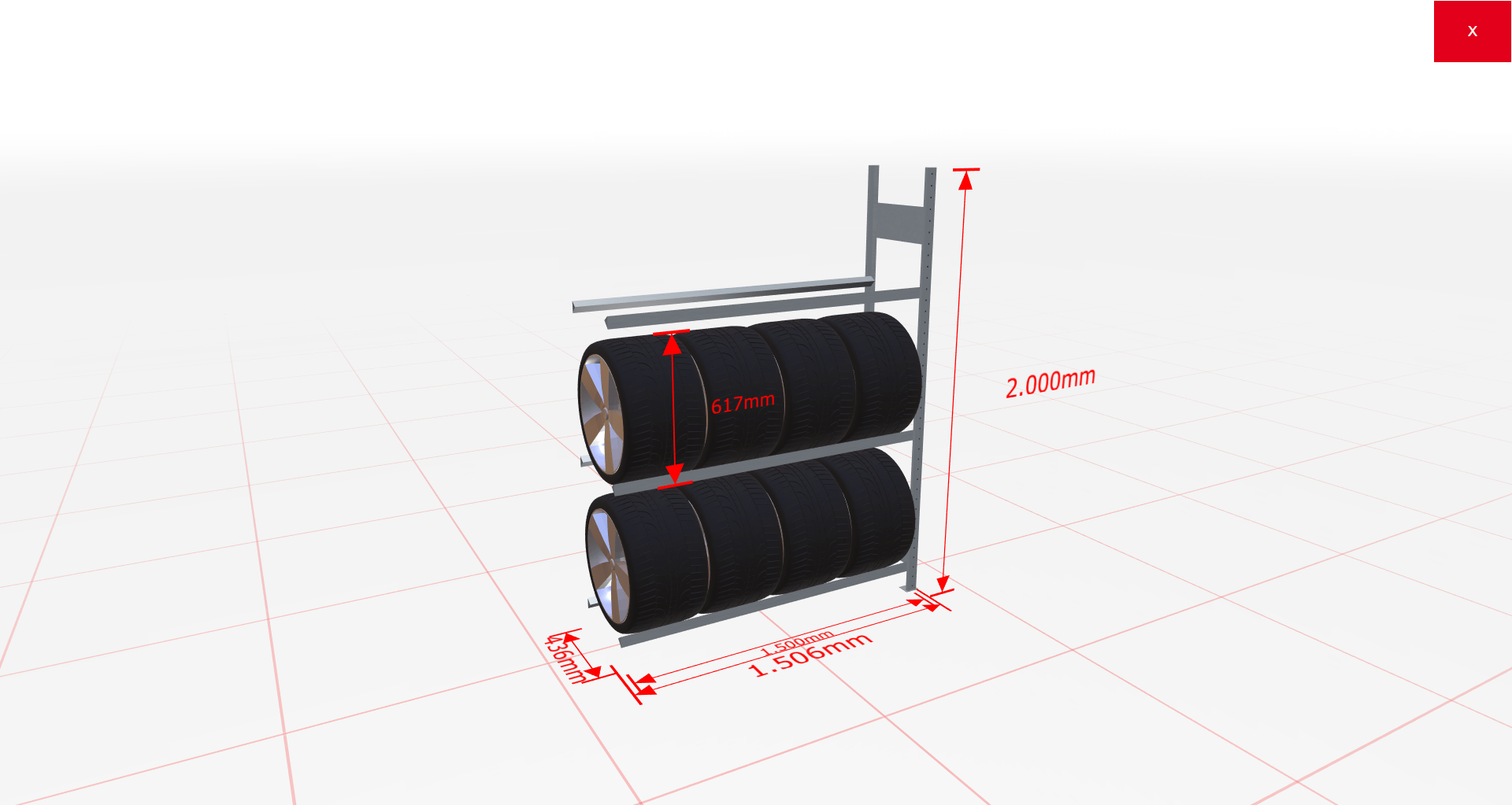 Reifenregal Anbauregal SCHULTE Lagertechnik 2000x1500x400 mm – 3 Ebenen à 1500 mm, verzinkt