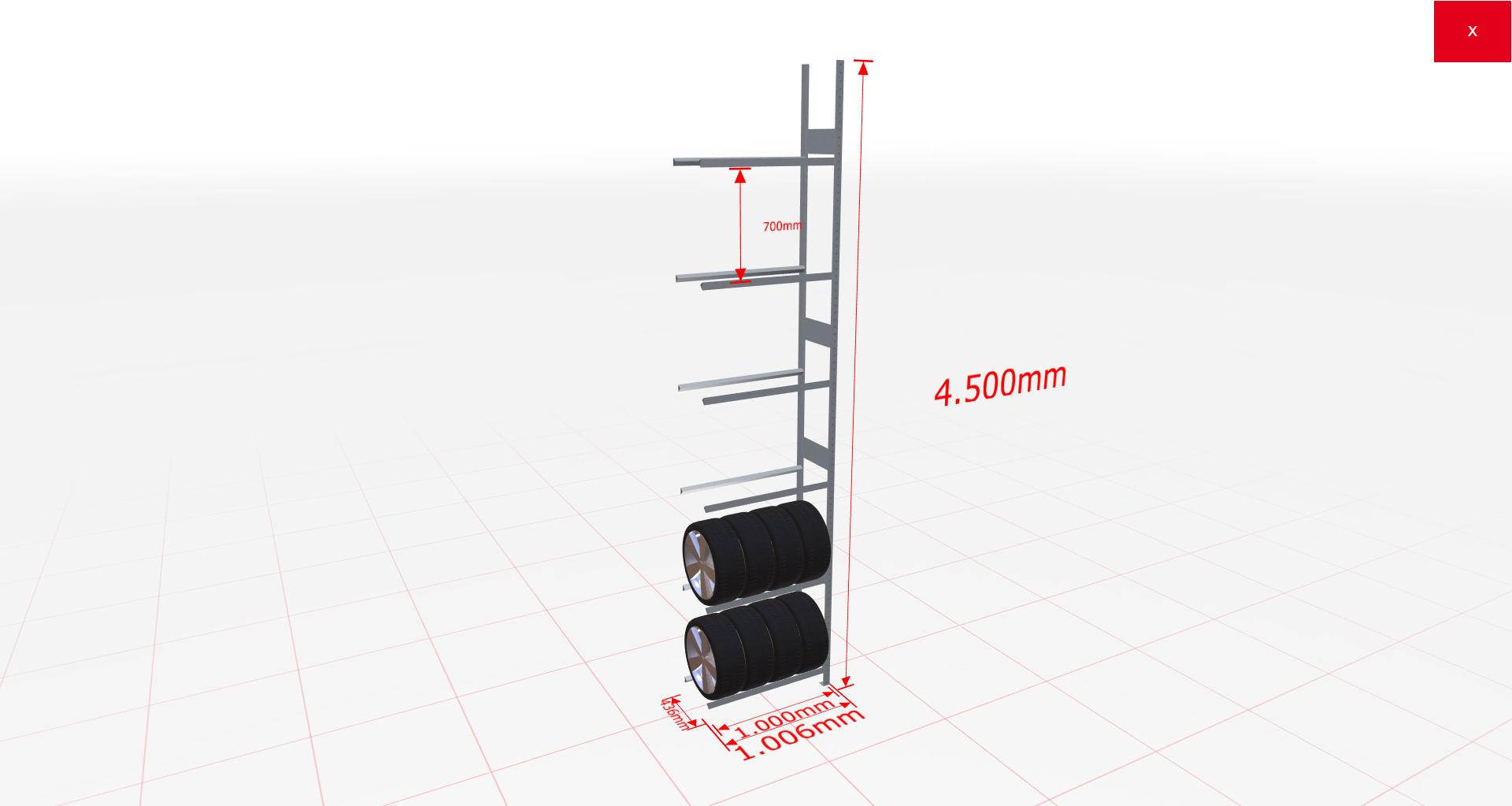 Räderregal Anbauregal SCHULTE Lagertechnik 4500x1000x400 mm – 6 Ebenen á 1000 mm, verzinkt
