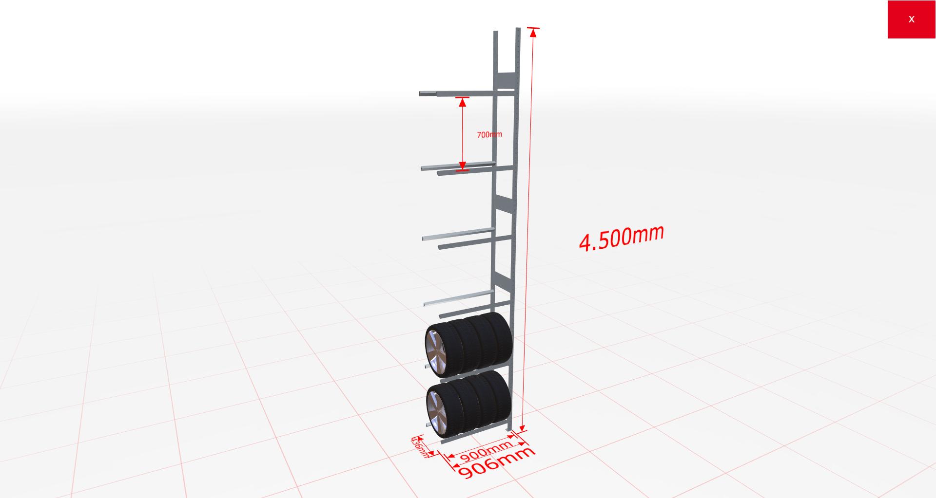 Räderregal Anbauregal SCHULTE Lagertechnik 4500x900x400 mm – 6 Ebenen á 900 mm, verzinkt